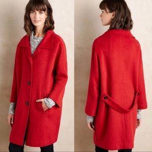 NWT Anthropologie Elevenese Red wool long jacket